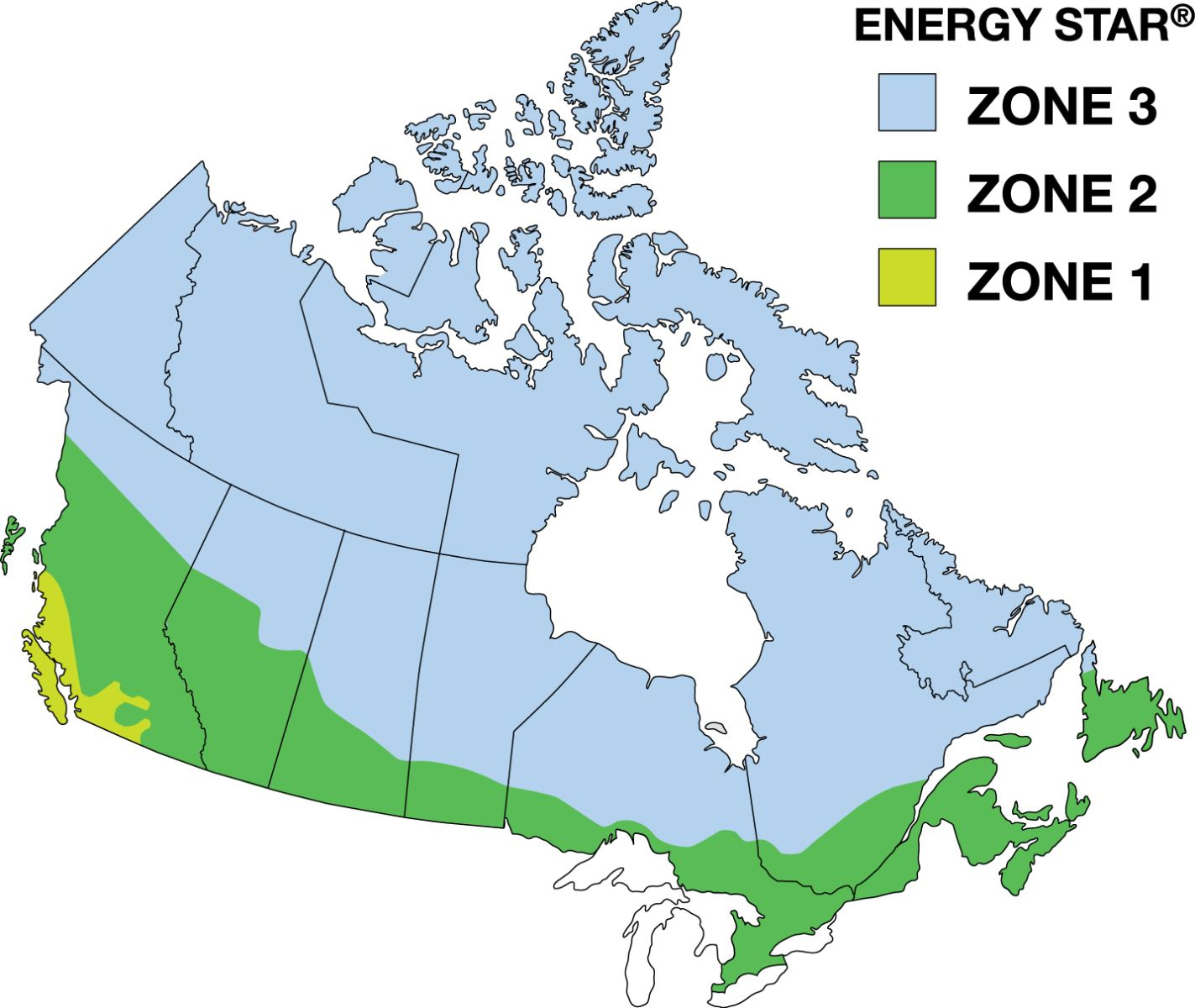 Carte zones ENERGY STAR